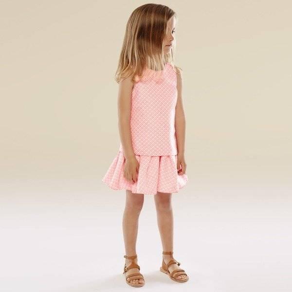 CHLOE-Pink-Cotton-Tweed-Layered-Dress