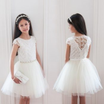 DAVID CHARLES Ivory Lace & Tulle Dress with Pearl Gems