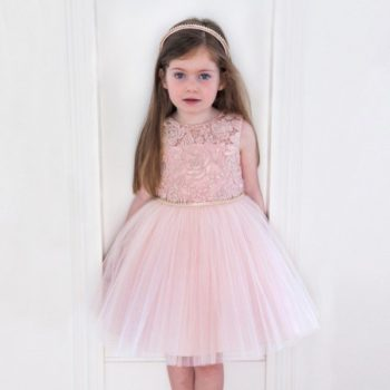 DAVID CHARLES Pink Tulle Dress with Floral Lace