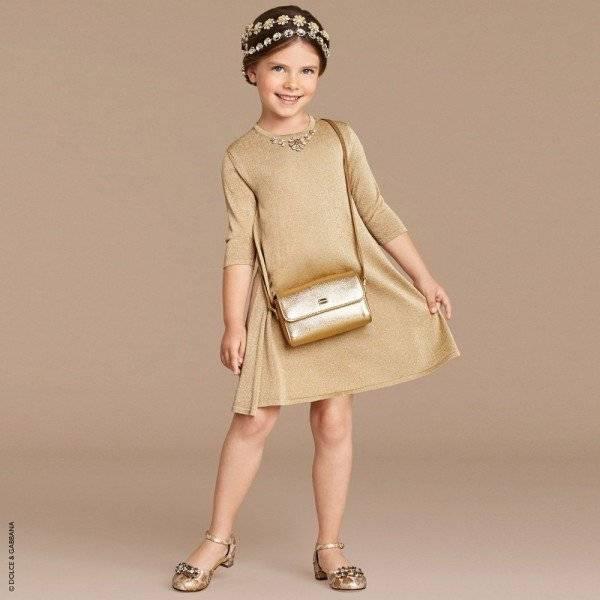 DOLCE & GABBANA Gold Lurex Dress with Jewels