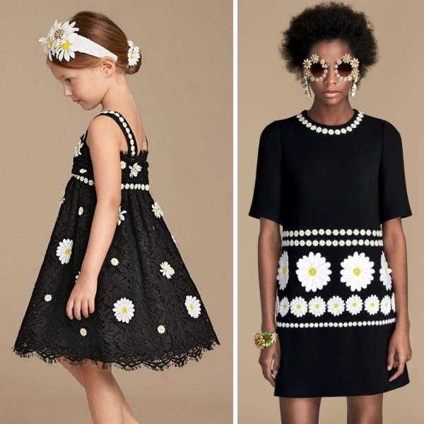 Dolce Gabbana Girls Mini Me Black Embroidered Daisy Dress