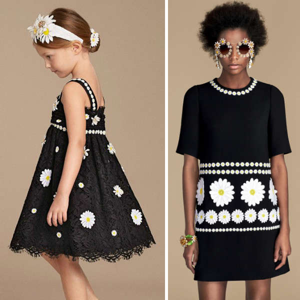 DOLCE & GABBANA GIRLS MINI ME BLACK LACE & DAISY EMBROIDERED DRESS