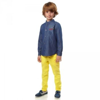 FENDI Boys Blue Chambray 'Monster' Shirt & Yellow Pants