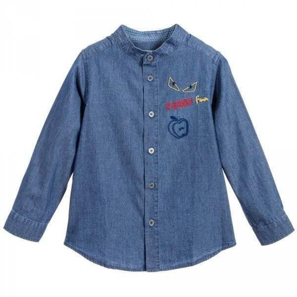 FENDI Boys Blue Chambray 'Monster' Shirt