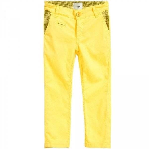 FENDI Boys Bright Yellow Cotton Chino Trousers