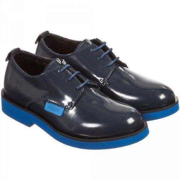 FENDI Boys Navy Blue Highly Polished Leather Shoes