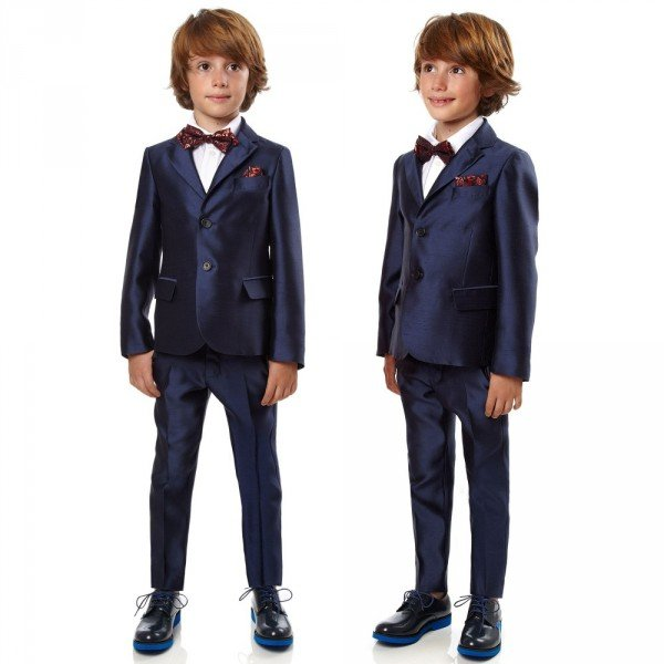 FENDI Boys Navy Blue Shot Silk 2 Piece Suit