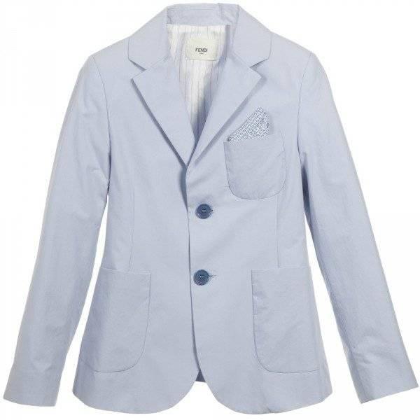 FENDI Boys Pale Blue Cotton Blazer