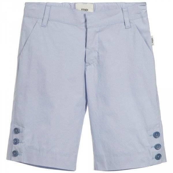 FENDI Boys Pale Blue Cotton Shorts