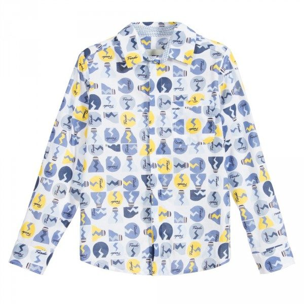 FENDI Boys Shirt with Blue & Yellow 'Lightbulb' Print