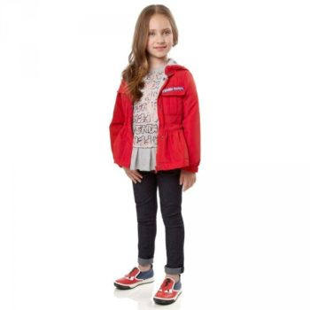 FENDI Girls Red 'Roma' Jacket with Hood & Grey & Red 'Roma' T-Shirt with Pleated Hem