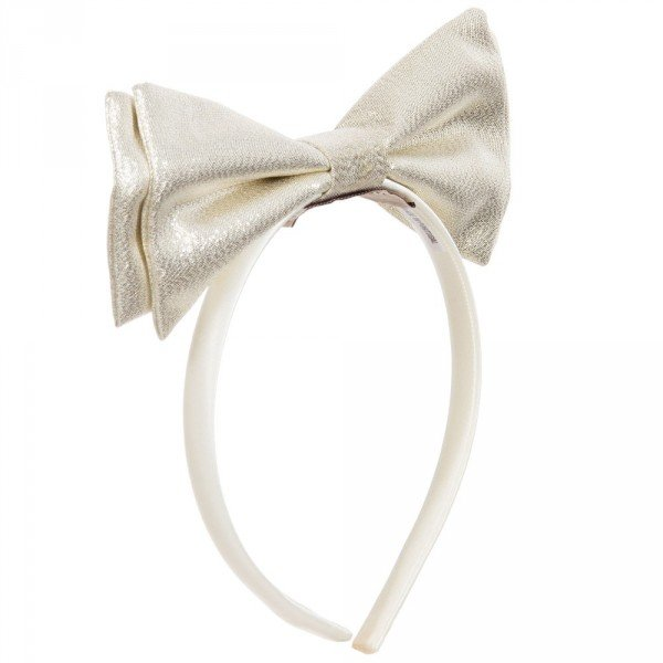HUCKLEBONES LONDON Metallic Gold Bow & Ivory Hairband