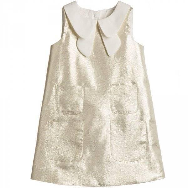 HUCKLEBONES LONDON Metallic Gold Lurex Dress