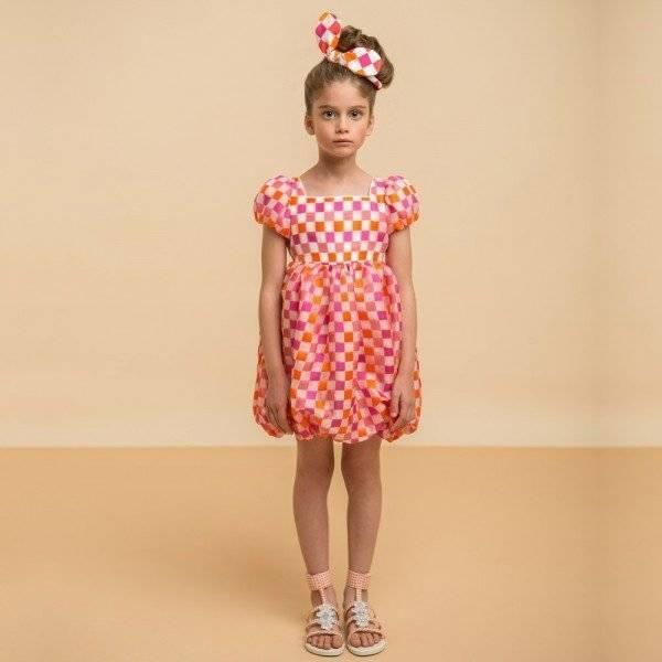 I PINCO PALLINO Pink & Orange Checked Silk Bubble DressI PINCO PALLINO Pink & Orange Checked Silk Bubble Dress