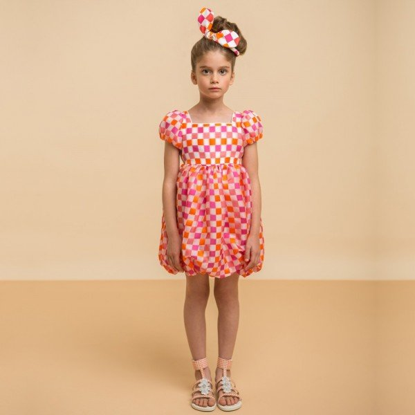 I PINCO PALLINO Pink & Orange Checked Silk Bubble DressI PINCO PALLINO Pink & Orange Checked Silk Bubble Dress
