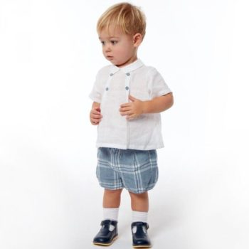 IL GUFO Baby Boys Blue Check Linen 2 Piece Shorts Set