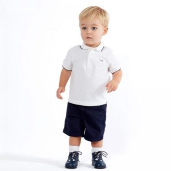 IL GUFO Boys White Cotton Piqué Polo Shirt & Navy Shorts