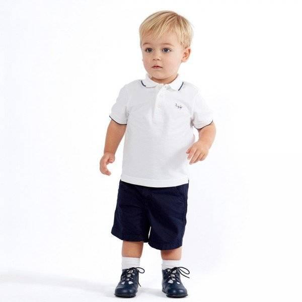 IL GUFO Boys White Cotton Piqué Polo Shirt & Navy Shorts