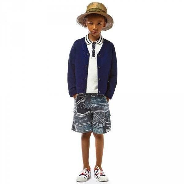 JUNIOR GAULTIER Boys Navy Blue Bermuda Shorts with Bandana Print