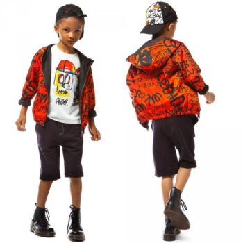 JUNIOR GAULTIER Boys Orange Reversible Jacket with Street Art Graffiti