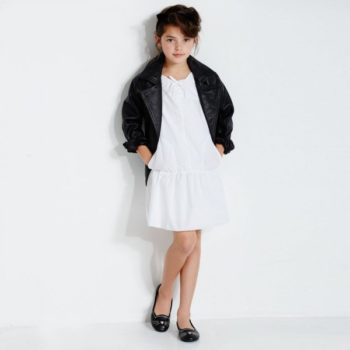 KARL LAGERFELD KIDS Black Leather 'Rock Chic' Biker Jacket & White Dress