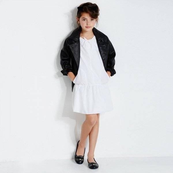 KARL LAGERFELD KIDS Black Leather 'Rock Chic' Biker Jacket & White Dress