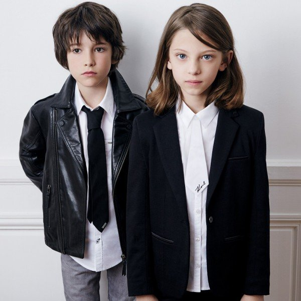 KARL LAGERFELD KIDS Black Leather 'Rock Chic' Biker Jacket