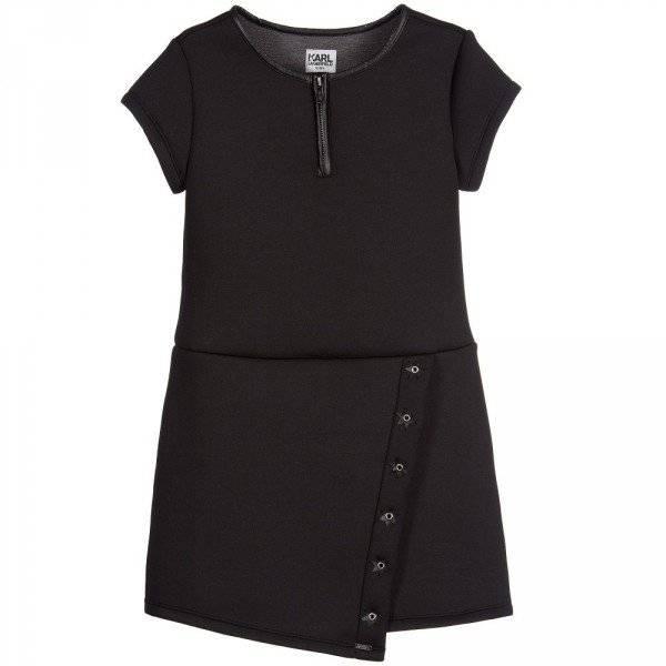 KARL LAGERFELD KIDS Black Neoprene 'Rock Chic' Stars & Studs Dress