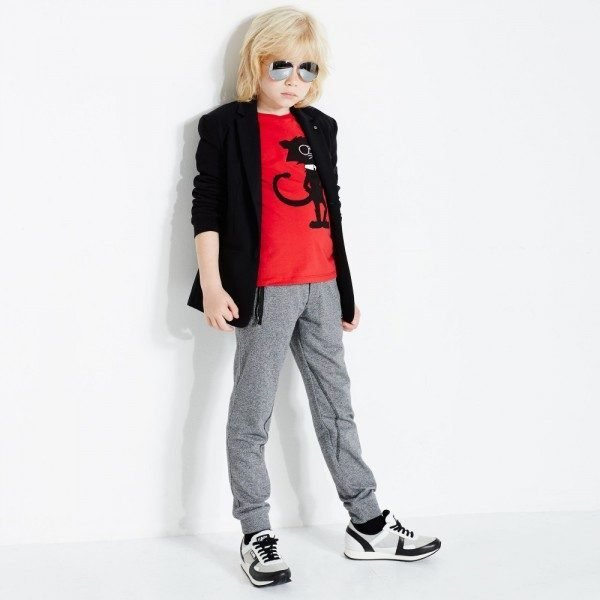 KARL LAGERFELD KIDS Boys Black Wool & Jersey 'Rock Chic' Blazer