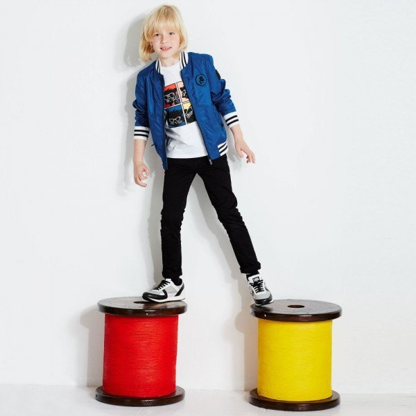 KARL LAGERFELD KIDS Boys Bright Blue 'Kuracao' Varsity Jacket