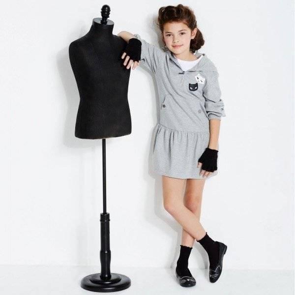 KARL LAGERFELD KIDS Grey Hooded 'Karl Trends' Sweatshirt Dress