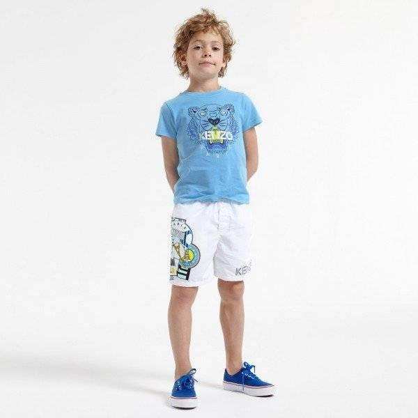 KENZO Blue Cotton Tiger T-Shirt