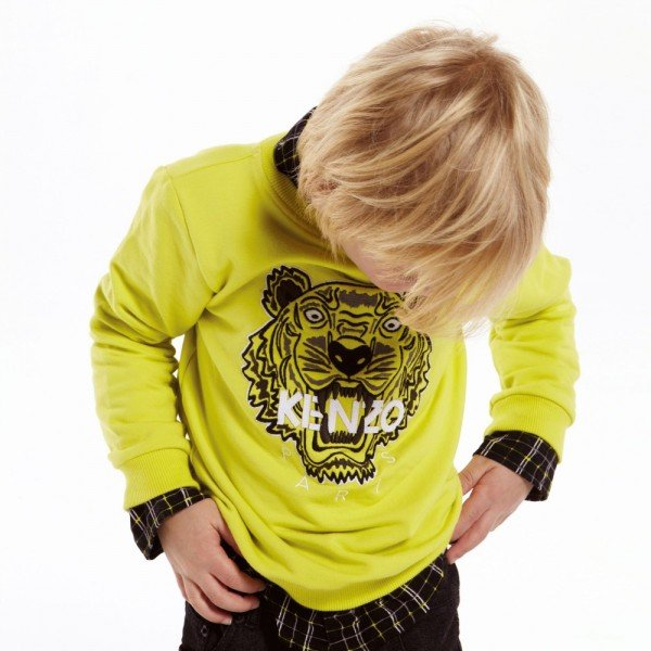 8fb17ea00 KENZO Boys Lime Green Tiger Sweatshirt | Dashin Fashion