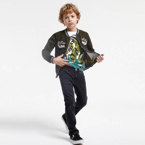 KENZO Boys White 'Jungle Kids' Top with Green Tiger