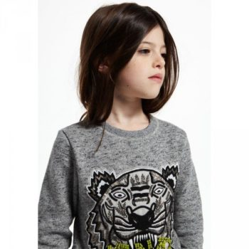 KENZO Girls Grey Sequin Tiger Sweatshirt