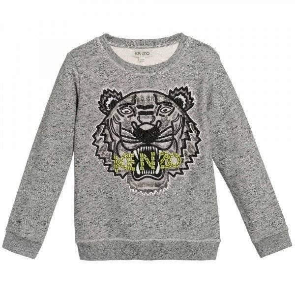 KENZO Girls Grey Sequin Tiger Sweatshirt