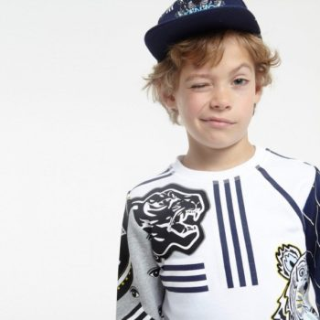 KENZO White & Navy Blue 'Tiger' Sweatshirt