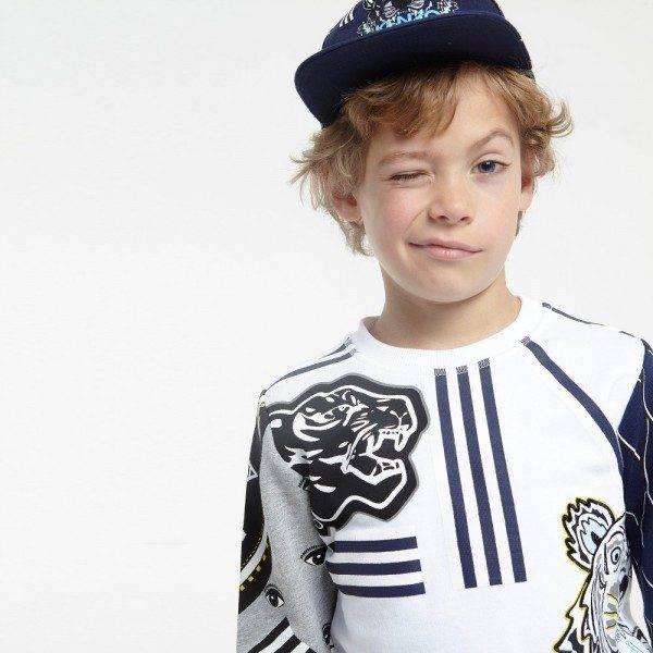KENZO White & Navy Blue 'Tiger' Sweatshirt