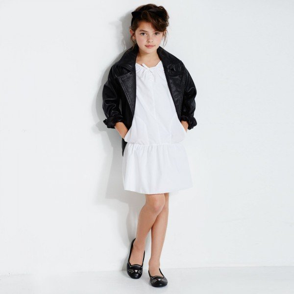Karl Lagerfeld Girls FW16 White Dress & Leather Jacket