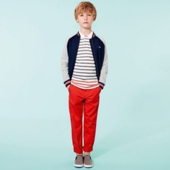 LACOSTE Boys Blue Fleece Cotton Jersey Zip-Up Top Outfit