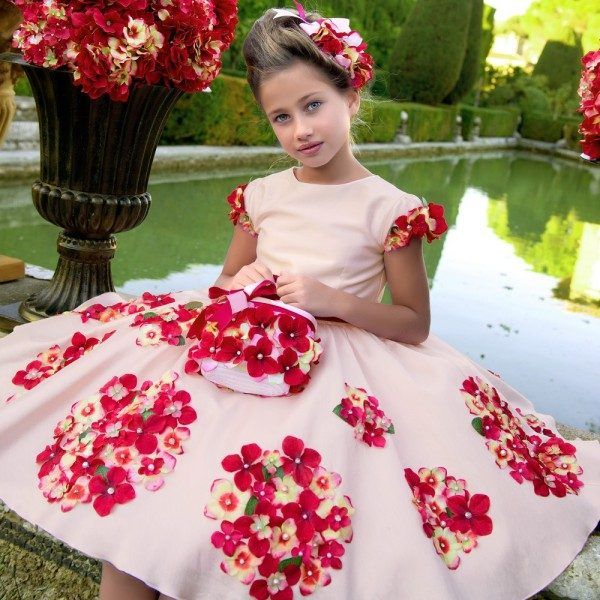 LESY LUXURY FLOWER Pale Pink Satin Dress with Flowers