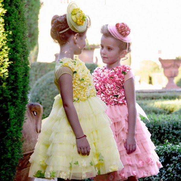 LESY LUXURY FLOWER Pink Layered Tulle Dress with Flowers