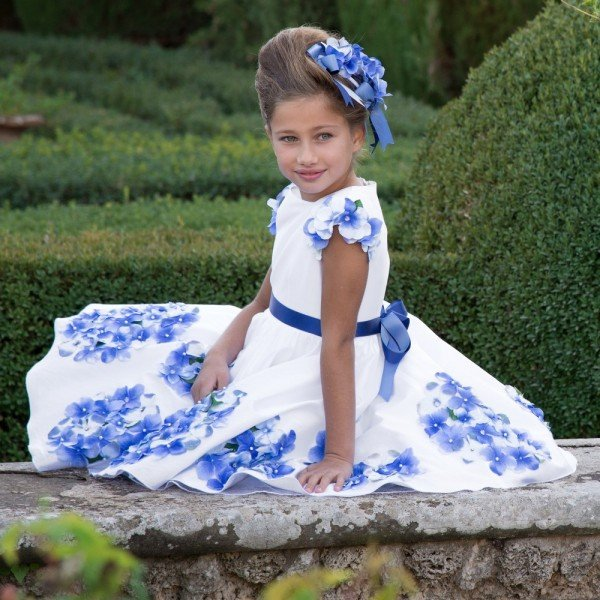 LESY LUXURY FLOWER White Satin Dress with Blue Flowers