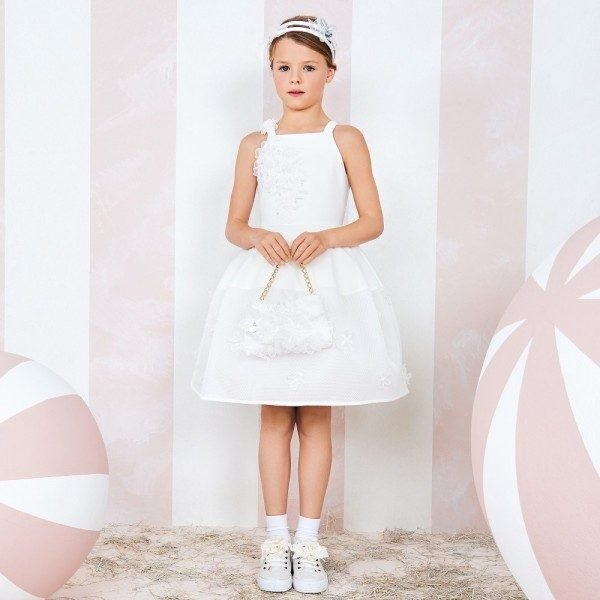 MONNALISA COUTURE Ivory Dress with Silk Organza Flowers