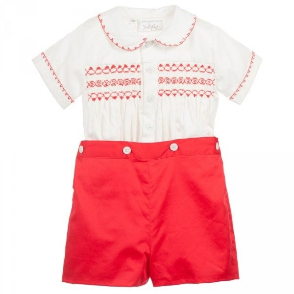 RACHEL RILEY Red & Ivory Hand Smocked Buster Suit p