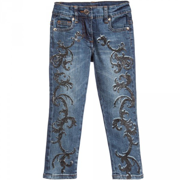 Roberto Cavalli Girls Blue Jeans with Baroque Print