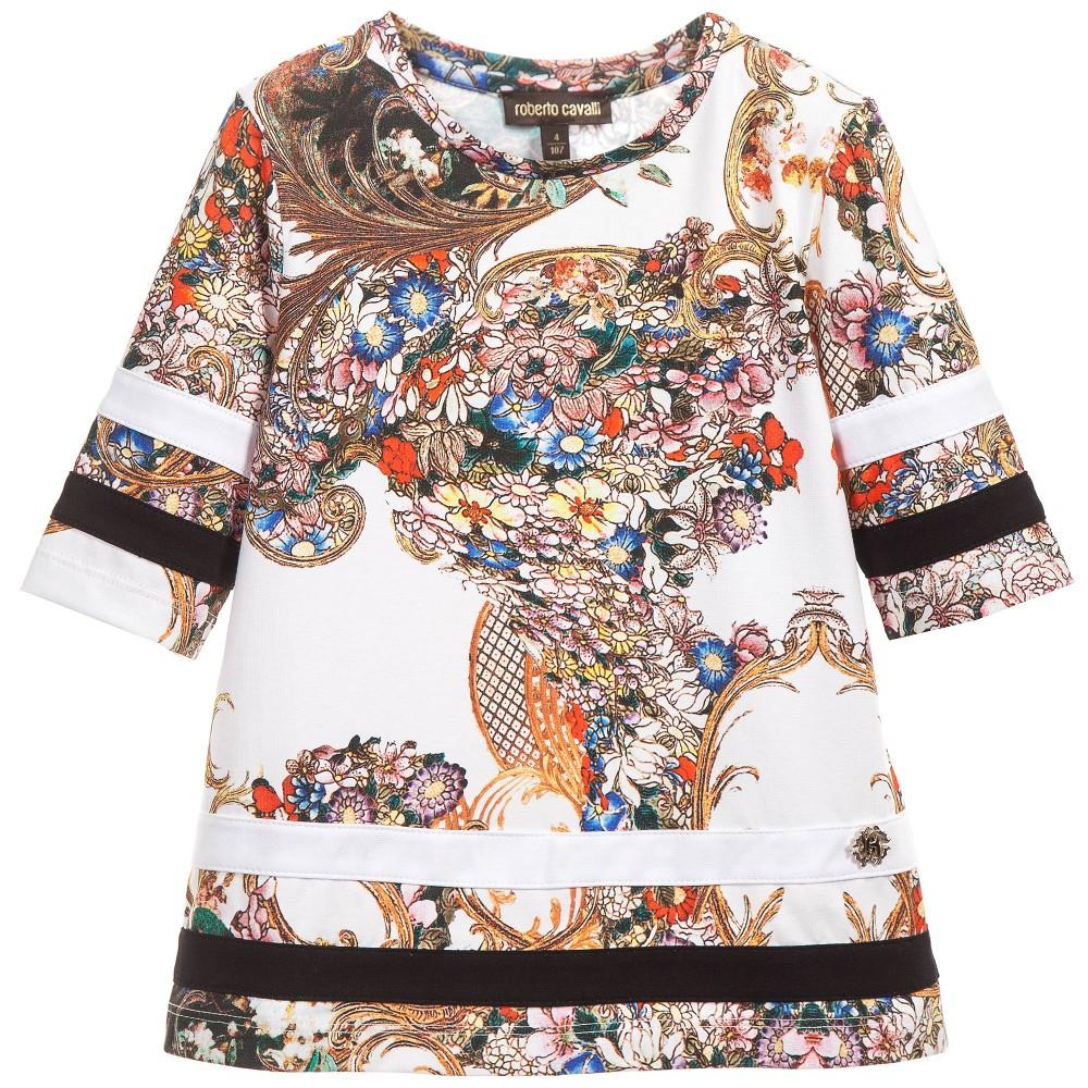 ROBERTO CAVALLI Girls Multi-Floral Print Tunic Top