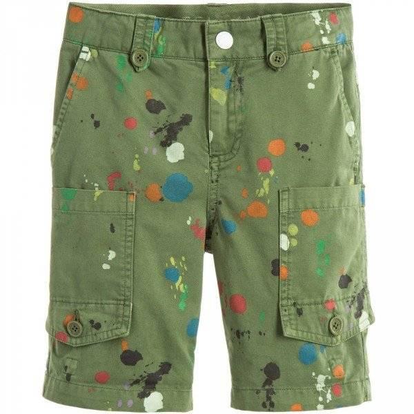 STELLA MCCARTNEY KIDS Boys Green Paint Splat 'Pine' Cargo Shorts