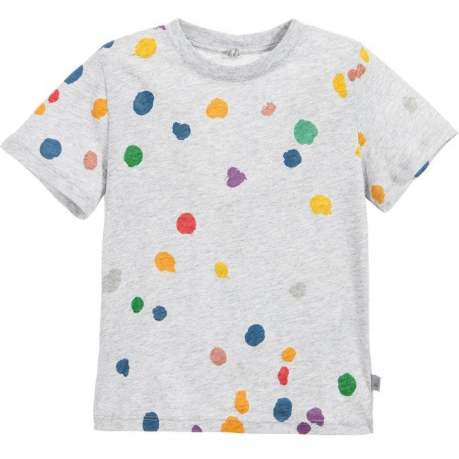 STELLA MCCARTNEY KIDS Grey 'Arlo' T-Shirt with Colourful Polka Dots