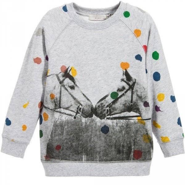 STELLA MCCARTNEY KIDS Grey 'Billy' Sweatshirt with Horses & Polka Dots